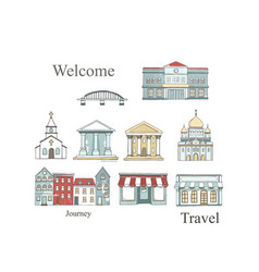 city places set with buildings in flat design vector image