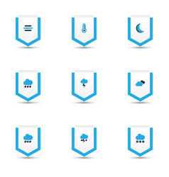 climate icons colored set with snowy raining moon vector image