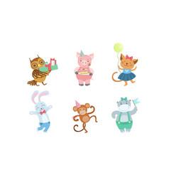 Collection cute happy animals for happy vector