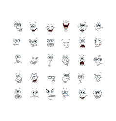 Collection of 30 character faces hand draw vector