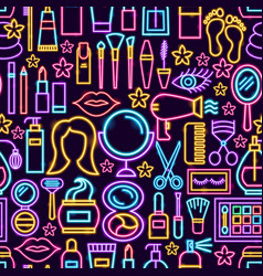 cosmetics neon seamless pattern vector image