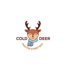 Cute deer cartoon smile and happy with scarf vector