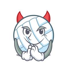 devil volley ball character cartoon vector image