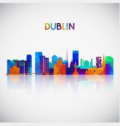 dublin skyline silhouette in colorful geometric vector image