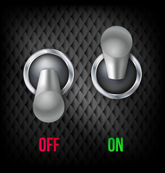 Electric switch 3d chrome metallic toggle vector