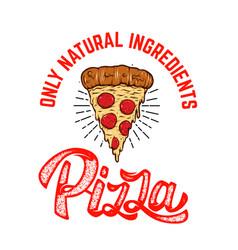emblem template with pizza slice design element vector image