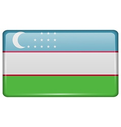 Flags Uzbekistan in the form of a magnet on vector image