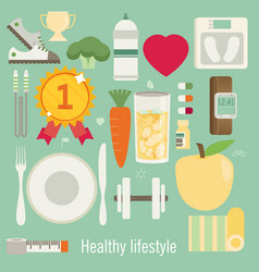 flat of icons for fitness and diet vector image