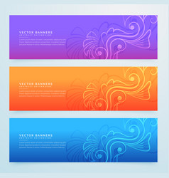 floral banners set of three in different colors vector image