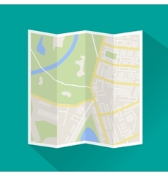 Folded paper city map icon vector