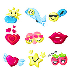 funny colorful cartoon colorful glossy smile vector image