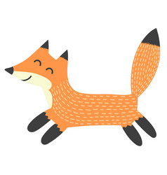 funny running fox isolated element vector image