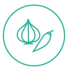 Garlic and chilli line icon vector
