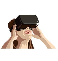 Girl wearing virtual reality goggles vector