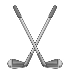 Golf clubs icon gray monochrome style vector