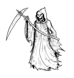 Hand drawing of halloween grim reaper vector
