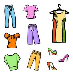 hand drawn fashion icon set vector image
