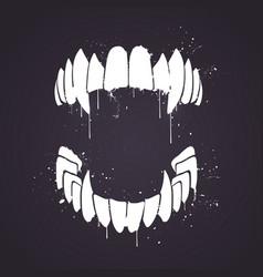 Handdrawn vampire horror teeth with splatter vector