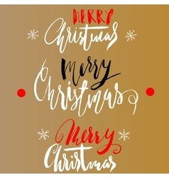 Handwritten Christmas gold and red calligraphy on vector image