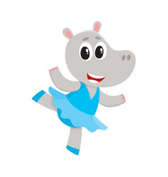 Happy cute little hippo character ballet dancer vector