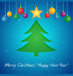 happy new year greeting card with a christmas tree vector image