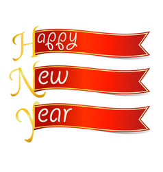 happy new year text with red ribbon vector image