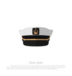 hat of captain icon of sailor cap in flat style vector image