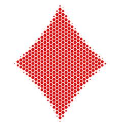 Hexagon halftone diamonds suit icon vector