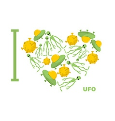 I love UFO Symbol heart of humanoid alien and vector