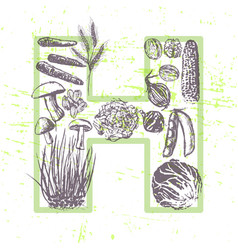 Ink hand drawn fruits and vegetables vitamin h vector
