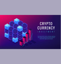 Isometric cryptocurrency investment landing page vector