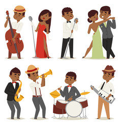 Jazz music band flat group cartoon musician people vector