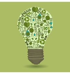 Lightbulb with sketch ecology and waste icons vector image