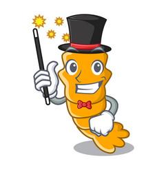 Magician steamed fresh raw shrimp on mascot vector
