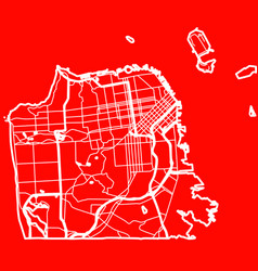 map of the san francisco city in the style of vector image