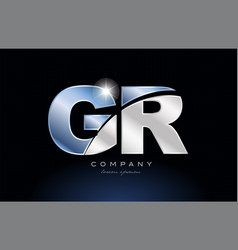 Metal blue alphabet letter gr g r logo company vector