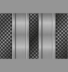 Metal perforated texture with vertical iron plates vector