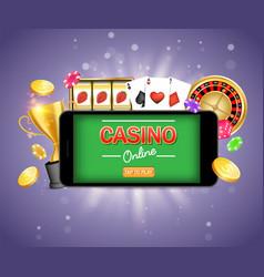 mobile gambling poster banner design vector image