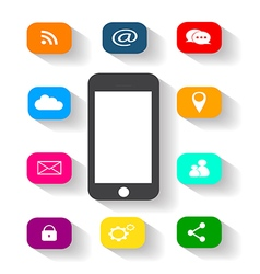 mobile phone media round color vector image