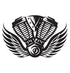 monochrome a motorcycle engine vector image