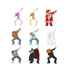 monsters dancing dab step vector image