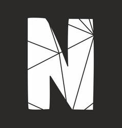 n white alphabet letter isolated on black vector image