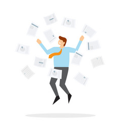 Office worker jumps up and throws paper vector