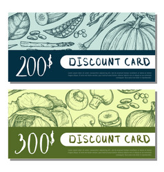 Organic food shop discount card set vector