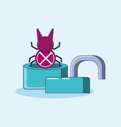 Padlock with bug privacy data vector