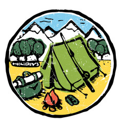 picture of camping in the woods emblem label vector image