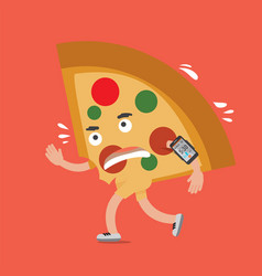 pizza on the run with smartphone health concept vector image