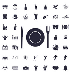 Plate fork and knife icon vector