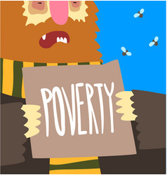 Poverty social problem help to homeless people vector