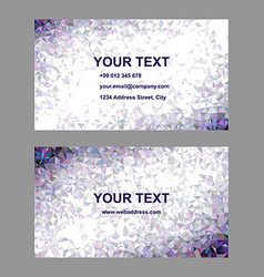 Purple triangle mosaic business card design vector